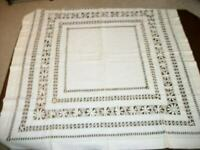 ANTIQUE WHITE LINEN TABLECLOTH WITH CROCHET WORK MONOGRAM E or F 1900's