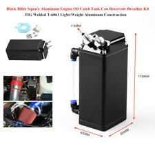 Black Square Aluminum Car Engine Oil Fuel Catch Tank Can Reservoir Breather Kit
