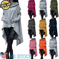 Womens Long Sleeve Trench Poncho Coat Irregular Pullover Hoodies Sweatshirt Tops