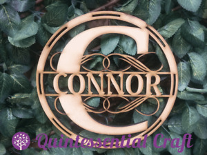 Personalised Monogram Large ANY NAME Wooden MDF Wall Hoop Decoration