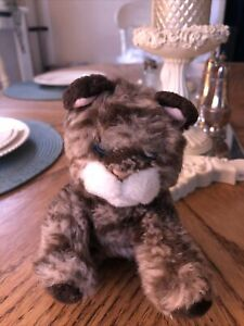 """RUSS BERRIE GREY BROWN TABBY CAT KITTEN WHISKERS PLUSH SOFT TOY 5"""""""