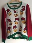 Ugly Christmas Sweater Emoji Pullover Sweater Size Large Funny Holiday Top NWT