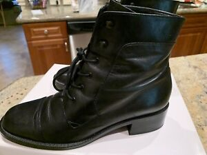 Enzo Angiolini Black Leather Lace Up Ankle Boots  -8m