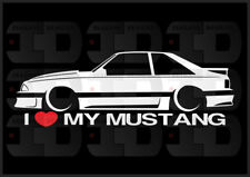 I Heart My Mustang Sticker Love Ford Slammed Fox Body Bagged 5.0 V8 GT Hatch