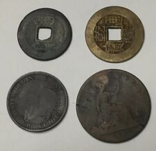4 Coin Collection Lot 1700s Asian Coin 1859 Canad Penny 1891 Victoria Penny Rare