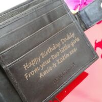 Personalised Engraved Men's Leather Wallet Son Brother Anniversary Valentines