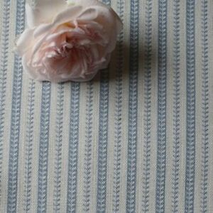 Peony and Sage Charente Stripe Weathered Blue on Chunky Cream Linen 65cmX140cm