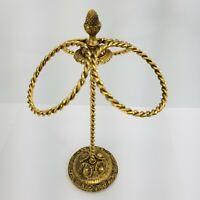 Vintage Hollywood Regency Ornate 3 Brass Ring Vanity Towel Stand Stylebuilt