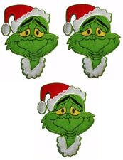"""DR Seuss The Grinch w/Christmas Hat 6"""" Tall Iron on Set of 3 Patches"""