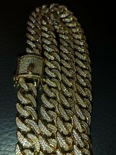 Men's Miami Cuban Link Chain Real 14k Gold Plated 12mm 40ct Lab Diamonds RAPPER