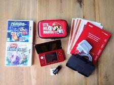 """Nintendo 3DS con scheda di memoria e accessori, custodia """"Mario"""" e 2 giochi"""