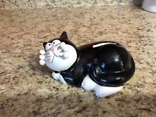 Adorable Black & White Kitty Cat Piggy Bank With Wire Whiskers Pink Nose Stopper