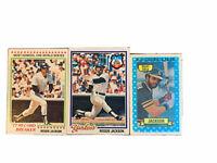 Reggie Jackson Topps Cards lot of 3, NY Yankees, Oakland A's, Kellogg's 3-D
