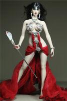 Customize 1/6 Fire Dance Red Long Skirt Metal Bra Dress Fit 12'' PH Figure Body