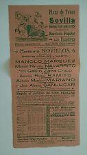 1951 Cartel Plaza de Toros Sevilla Novillada Popular con Picadores Corrida