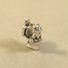 .925 Sterling Silver 3-D CAT ON TOILET CHARM NEW Pendant Kitty Kitten 925 CA26