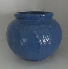 Antique Pottery Blue Vase Allover Raised Lily Pad Design Blue 1880-1910 McCoy?