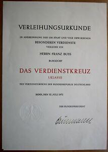 BRD – Verleihungsurkunde 1971 Bundesverdienstkreuz 1.Kl; Unterschrift Heinemann