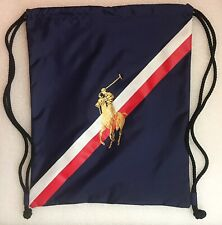 UNUSED Vintage POLO RALPH LAUREN Frangrances DRAWSTRING BACKPACK Pony USA FLAG