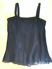 Eve Hunter Size 14 Lavender Purple and Sheer Black Pleated Camisole Top # 609
