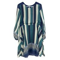ANTHROPOLOGIE XS Dress Sunday in Brooklyn Striped Long Sleeve Ruffle Party