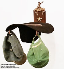 American Made Cowboy Hat Rack Bronc with Stars Powder Coated Rust