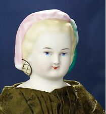 Antique Rare Molded Painted Hairdo Lady Doll with Antique Body & Antique Dress