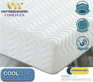 """COOL BLUE EUROPEAN SIZES DOUBLE SINGLE KING MEMORY FOAM MATTRESS QUILTED 10"""""""