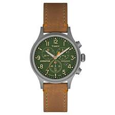 Timex Tw4b04400 Mens Expedition Chronograph Leather Watch Indiglo TW4B044009J