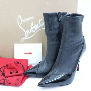 Christian Louboutin Black leather Ankle Boots Stiletto Heel Size 35.5 US6
