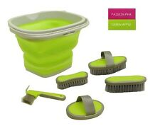APPLE GREEN 5 Piece Horse Grooming Kit w/ Collapsible Bucket!! NEW HORSE TACK!!