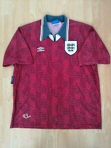 England National Team Vintage Home Football Jersey 1993 1994 1995 2XL Shirt Old