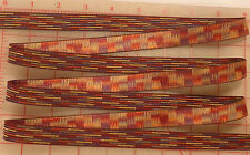 "5 yards vintage Swiss jacquard ribbon wine purple brown multi color 11/16"" 17mm"