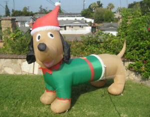 Gemmy Christmas Elf Dachshund Weiner Dog Airblown Yard Inflatable 6.5 Feet Wide