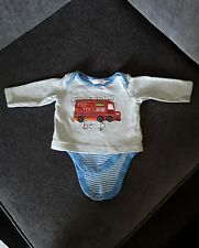0 to 3 months baby boy long sleeve top with attached vest. M&Co. Fire engine.