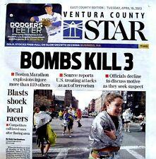 Boston Marathon Bombings Newspaper Ventura County Star 4/16/2013 Bomb Terrorists