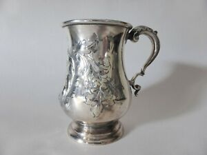 Antique Engraved Silver Plated Mug, Hand Detailed Tankard, Victorian Decor
