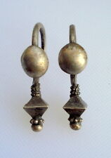 vintage antique ethnic tribal old silver earrings belly dance gypsy jewellery