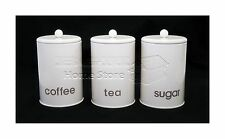 CREAM 3pc Carbon Steel Canister Set Tea, Coffee, Sugar Jars Cannister Set