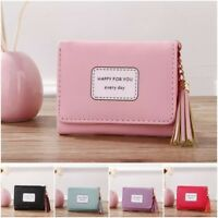 Girls Cute Happy for you Short Wallet Purse Tassel Coin Bag Zipper Card Holder