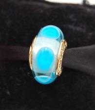 "Genuine Pandora Gold Murano ""Blue Calla"" - Blue Mystic - 750403 - retired"