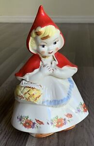 """Hull Little Red Riding Hood Cookie Jar - Roses - 1940's - USA - 13"""" EUC"""