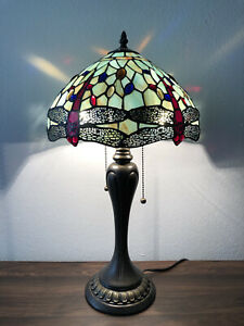 Enjoy Tiffany Style Table Lamp Jade Green Stained Glass Dragonfly Vintage 22H12W