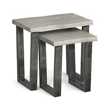 Grey Oak Industrial Nest of 2 Tables Solid Wood Nested Tables Metal Legs Soho