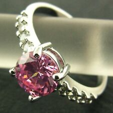 RING REAL 18K WHITE G/F GOLD GENUINE PINK SAPPHIRE DIAMOND SIMULATED DESIGN