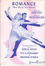 "IT'S A PLEASURE Sheet Music ""Romance"" Sonja Henie Michael O'Shea"