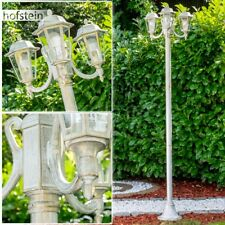 Kandelaber weiss Gold Aussen Steh Leuchten Wege Lampen Garten Klarglas Laterne