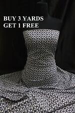 Black White Circle Floral 100% Cotton Print Dress Craft Fabric Material