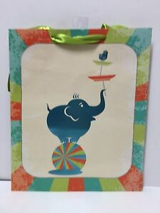 NWT Blueink Studios B-1008 At the Circus Green Elephant Colorful Gift Bag