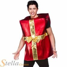 Adult Christmas Present Costume Red & Gold Gift Fancy Dress Outfit